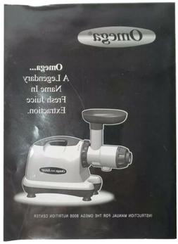 Omega Juicer 8006 Instruction Manual Only 17 Pages