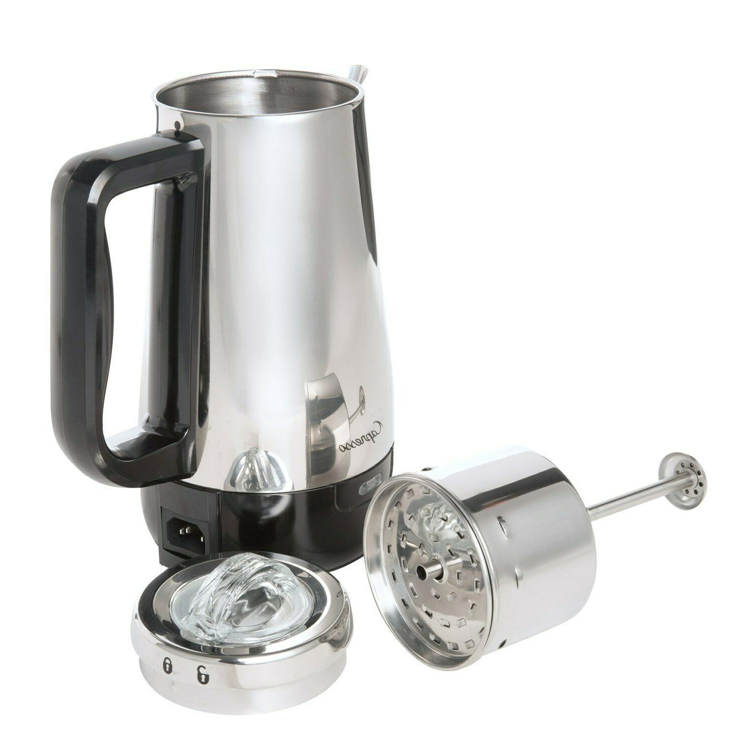 perk 8 cup electric percolator stainless steel