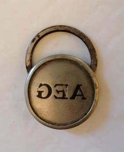 Very Rare & Old Small Round Silver Tone AEG Key Ring Keyring