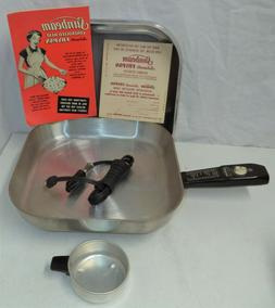Vintage 1950's Sunbeam electric frying pan with cord, book,