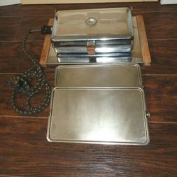 VINTAGE GE WAFFLE IRON MAKER WITH CLOTH APPLIANCE CORD CAT #